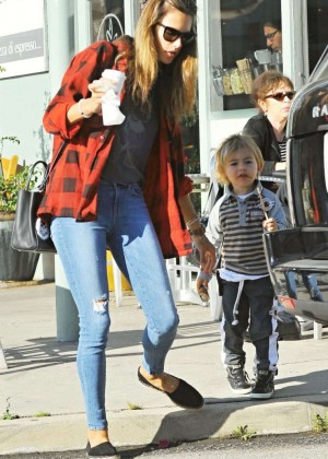 Alessandra Ambrosio in Tight Jeans out in LA