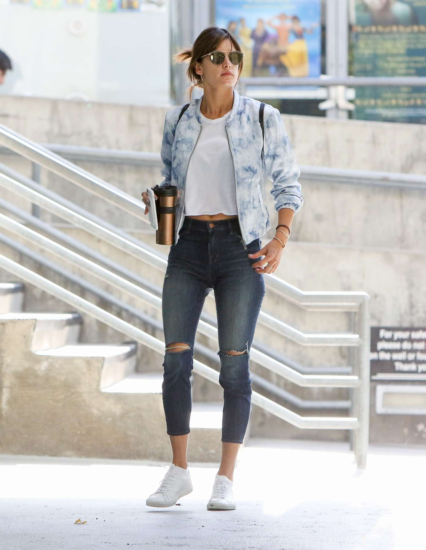 Alessandra Ambrosio in Tight Ripped Jeans out in Los Angeles