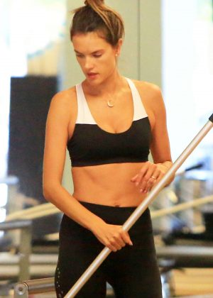 Alessandra Ambrosio in Tights and Sports Bra - Workout at the gym in Brentwood