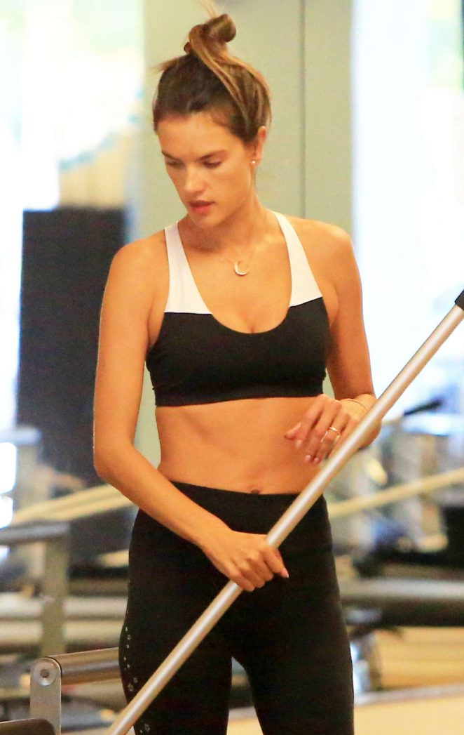 Alessandra Ambrosio in Tights and Sports Bra – Workout at the gym in Brentwood