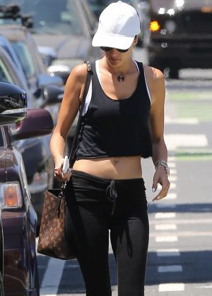 Alessandra Ambrosio in Tights at a Gym in Venice