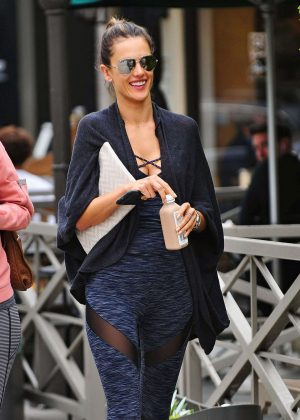 Alessandra Ambrosio in Tights leaving a yoga class in Brentwood