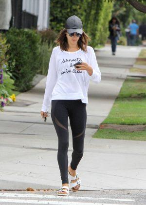 Alessandra Ambrosio in Tights on the school run in Los Angeles