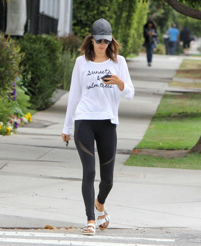 Alessandra Ambrosio in Tights on the school run in Los Angeles