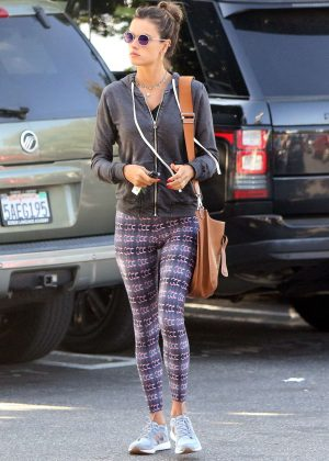 Alessandra Ambrosio in tights out shopping in Los Angeles