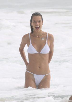 Alessandra Ambrosio in White Bikini at the beach in San Diego