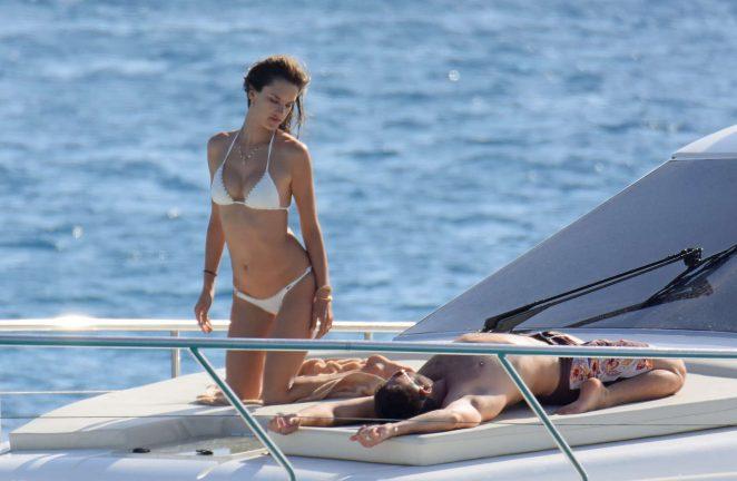 Alessandra Ambrosio in White Bikini in Formentera