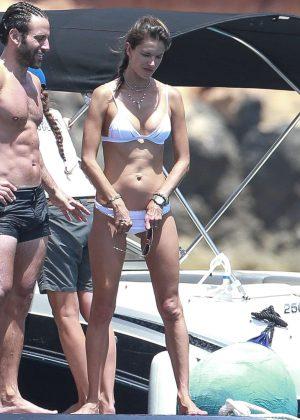 Alessandra Ambrosio in White Bikini on a boat in Ibiza