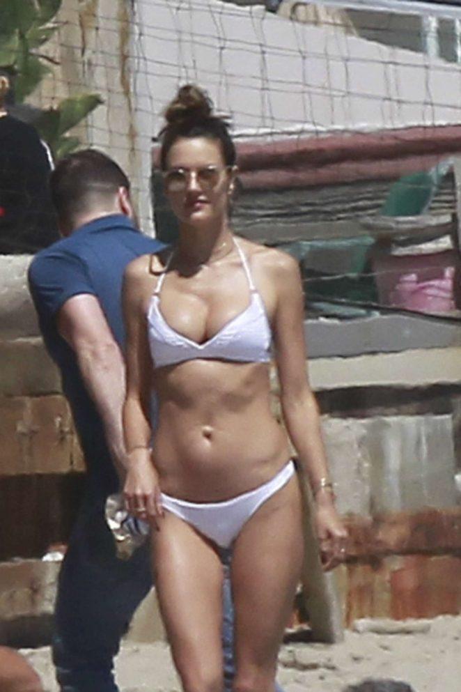 Alessandra Ambrosio in White Bikini 2017 -02