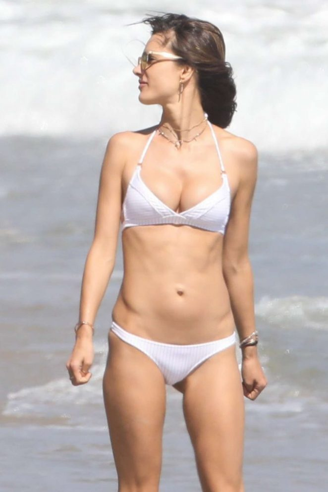 Alessandra Ambrosio in White Bikini on the beach in Malibu