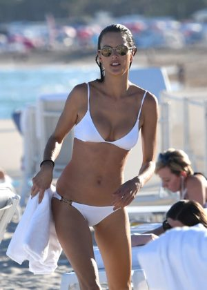 Alessandra Ambrosio in White Bikini on the beach in Miami