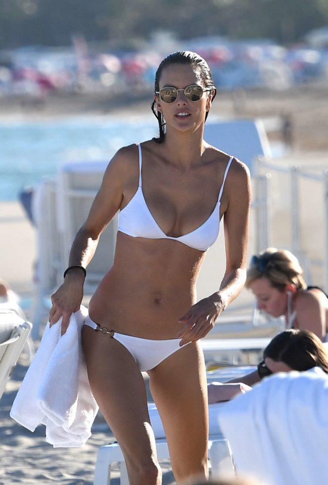 Alessandra Ambrosio in White Bikini on the beach in Miami