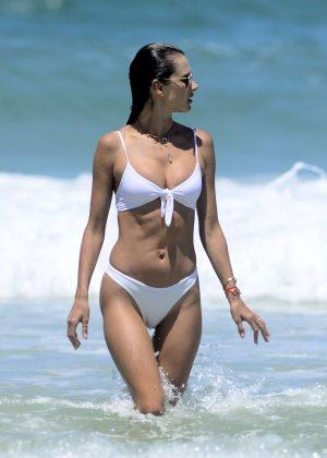 Alessandra Ambrosio in White Bikini on the beach in Rio de Janeiro