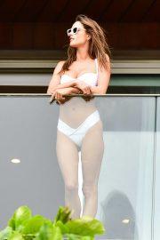 Alessandra Ambrosio in White Bikini - Photoshoot on her hotel balcony in Rio de Janeiro