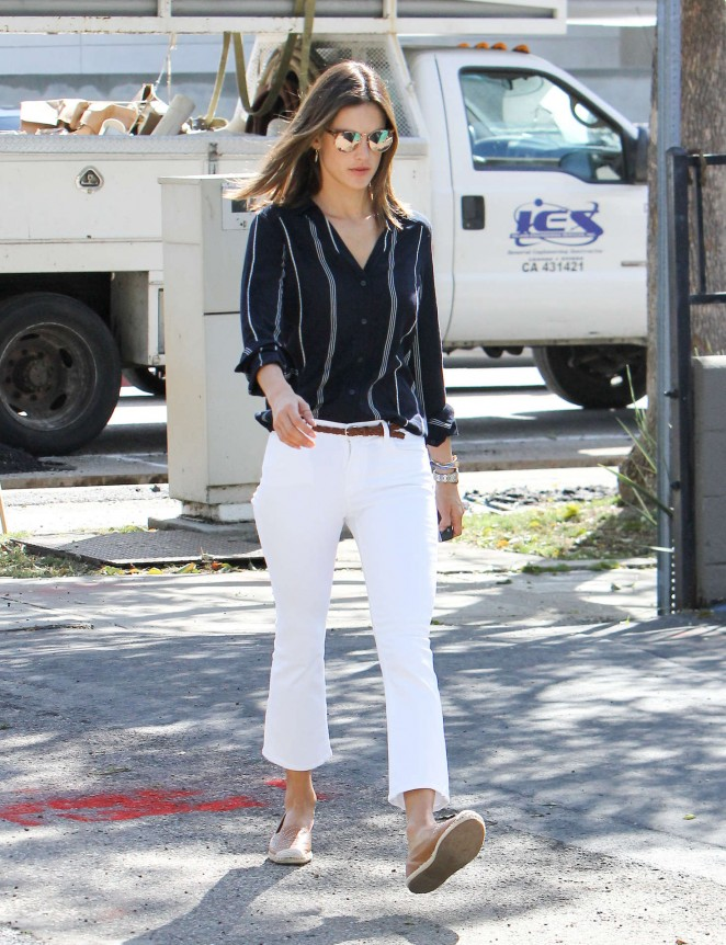 Alessandra Ambrosio in White Jeans out in LA