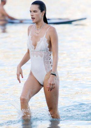 Alessandra Ambrosio in White Swimsuit in Mykonos  Alessandra Ambrosio