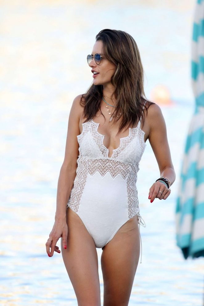 Alessandra Ambrosio in White Swimsuit in Mykonos