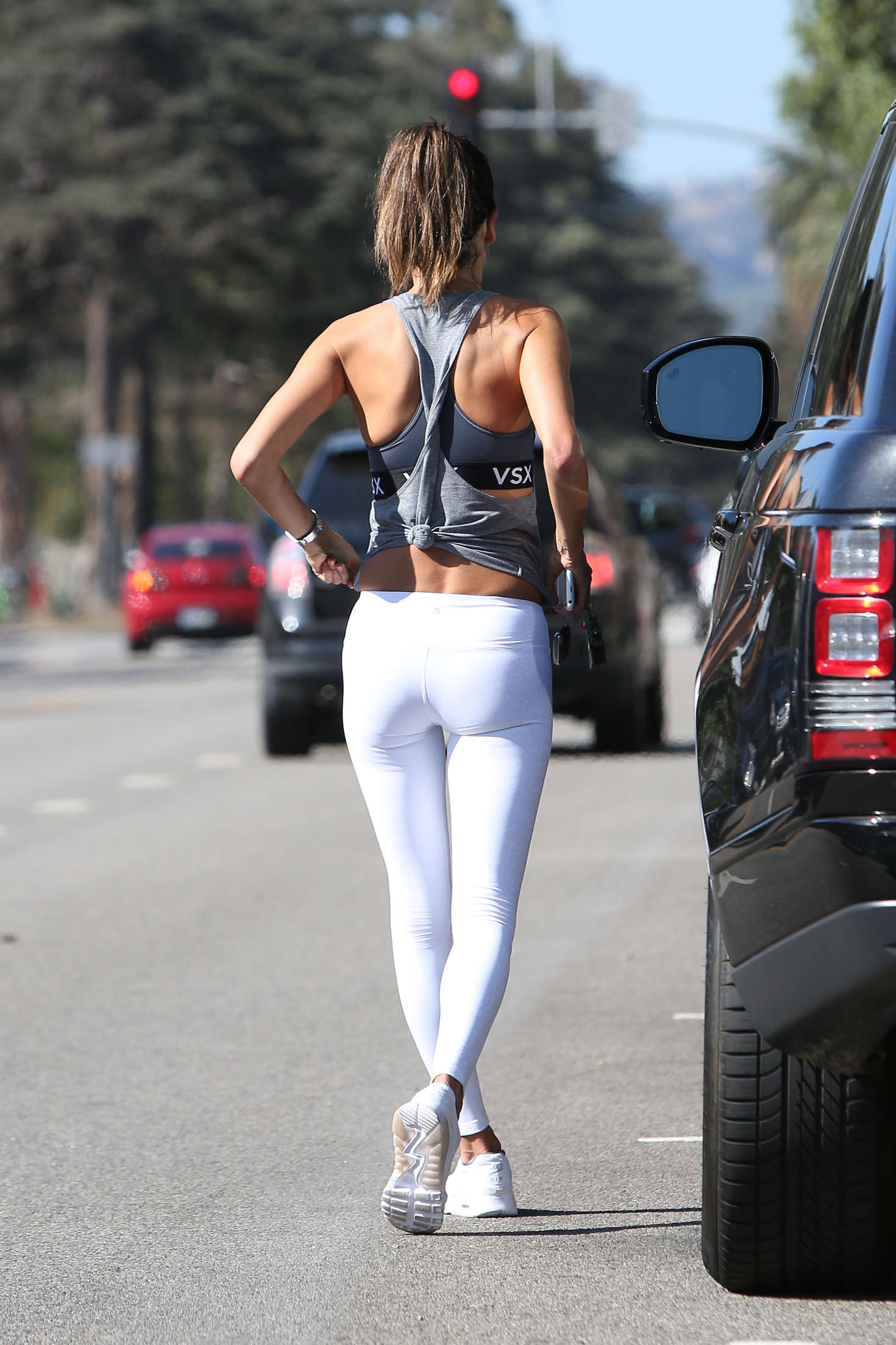 Alessandra Ambrosio in White Tights After a workout in Santa Monica