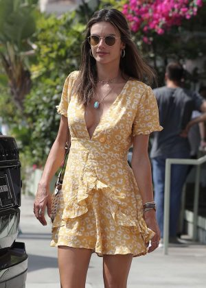 Alessandra Ambrosio in Yellow Mini Dress - Arrives at Ivy in Santa Monica