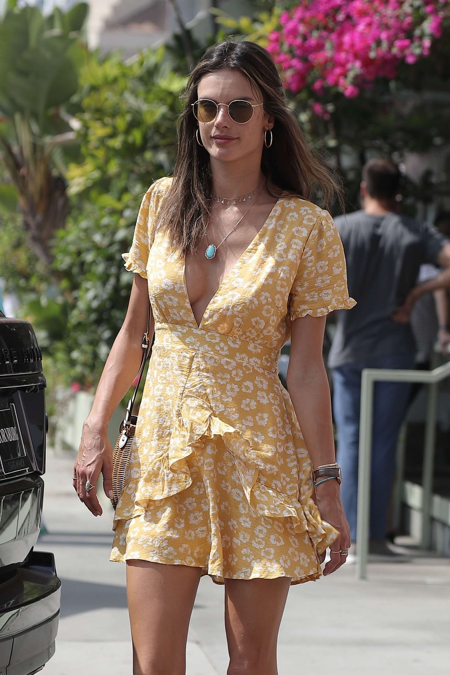 Alessandra Ambrosio in Yellow Mini Dress – Arrives at Ivy in Santa Monica