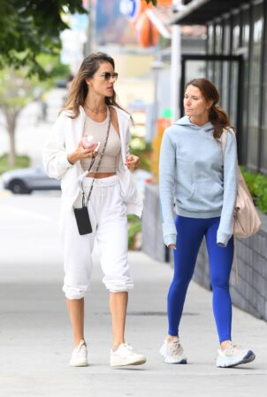 Alessandra Ambrosio - joins a friend during a Pilates session in Los Angeles