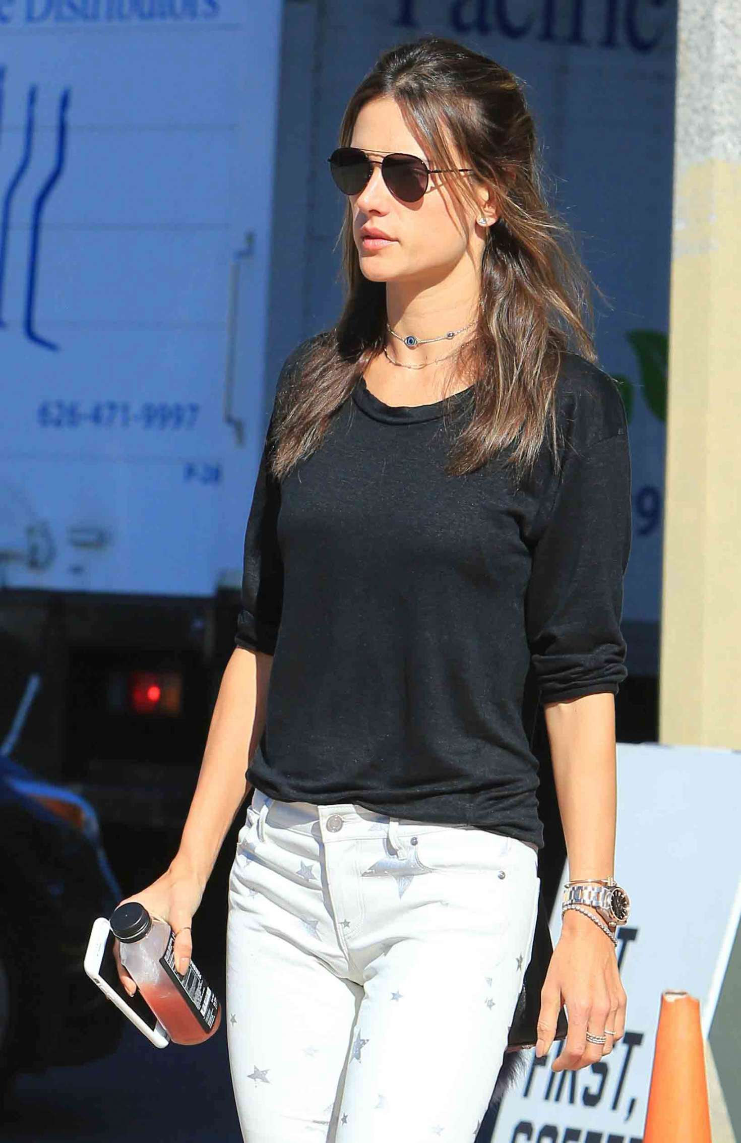 Alessandra Ambrosio - Leaves Alfred Coffee in Brentwood