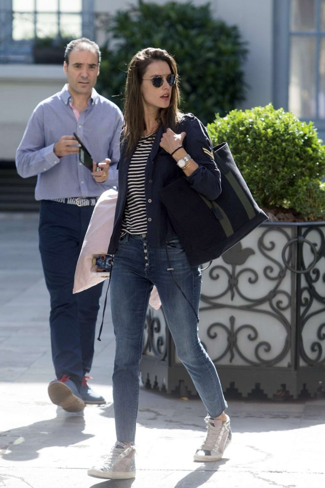 Alessandra Ambrosio - Leaving her hotel in Madrid