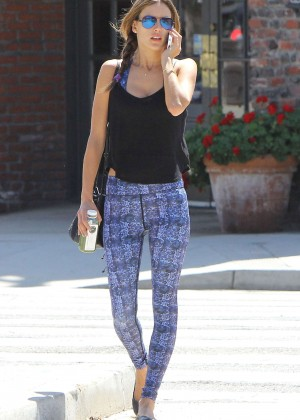 Alessandra Ambrosio in Leggings - Leaving Yoga Class in Brentwood