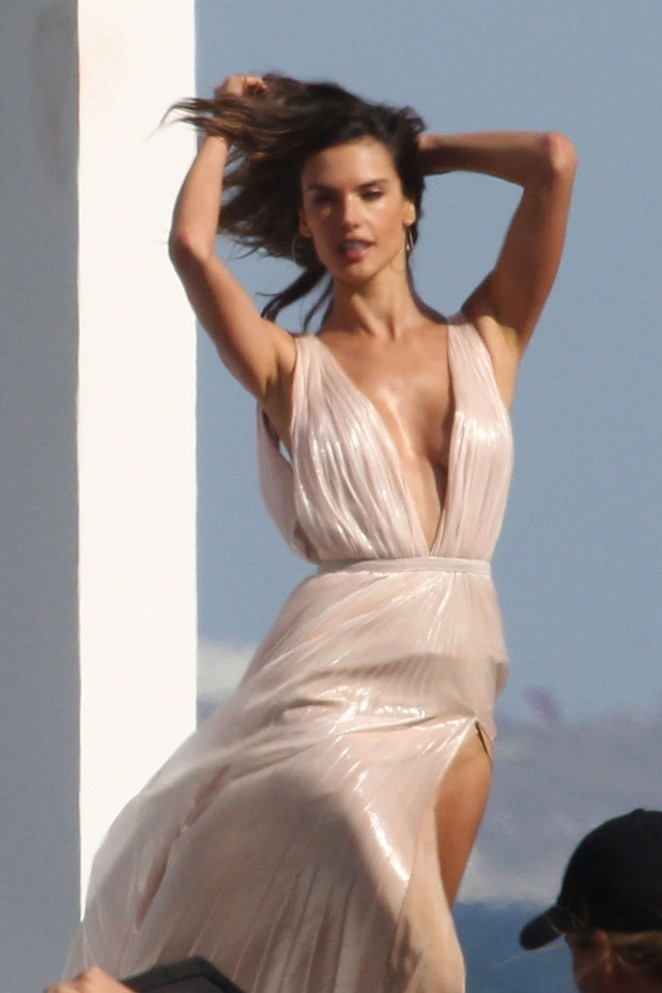 Alessandra Ambrosio on the beach during a fragrance photoshoot in Santa Monica