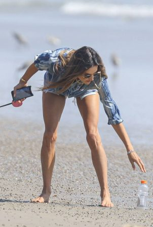 Alessandra Ambrosio - On the beach with her puppy in Malibu