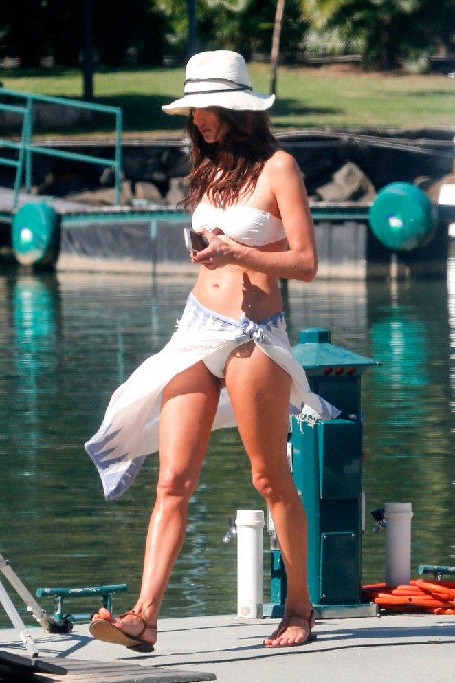 Alessandra Ambrosio in White Bikini Filming in Rio