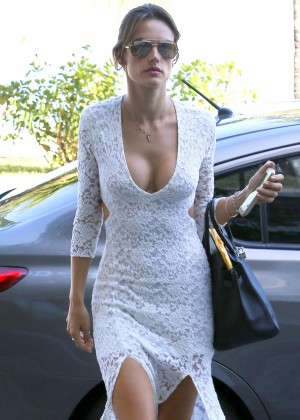 Alessandra Ambrosio in White Dress Out in Rio