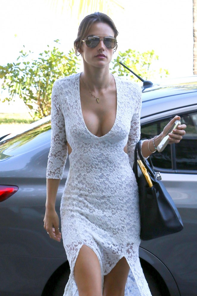 Alessandra Ambrosio in White Dress Out in Rio
