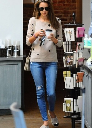 Alessandra Ambrosio in Tight Jeans Out for coffee in Brentwood