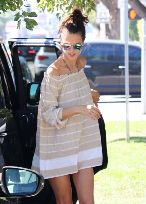 Alessandra Ambrosio in Short Dress Out in Brentwood