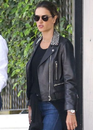 Alessandra Ambrosio - Out in leather in Brentwood
