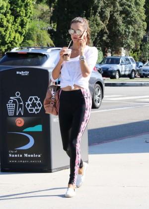 Alessandra Ambrosio in Tights Out in Santa Monica