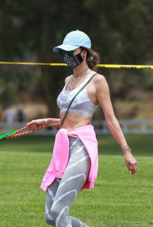 Alessandra Ambrosio - Out on a hike with her dog in Pacific Palisades