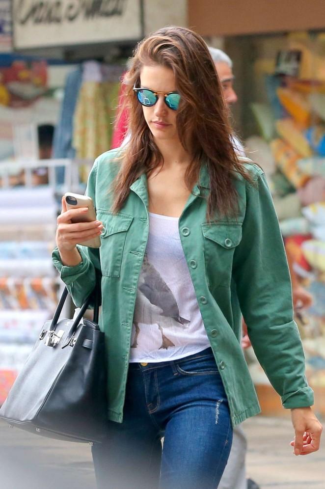 Alessandra Ambrosio in Tight Jeans at Pharmacy In Rio De Janeiro