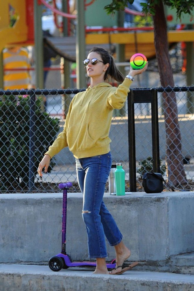 Alessandra Ambrosio Playing ball in Los Angeles