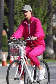 Alessandra Ambrosio Ride Bike with Nicolo Oddi - Out in Santa Monica