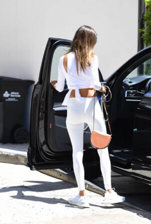 Alessandra Ambrosio - Seen in an all-white workout ensemble in Beverly Hills