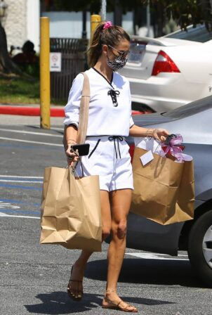Alessandra Ambrosio - Shopping candids in an all-white outfit in Brentwood