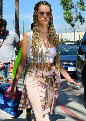 Alessandra Ambrosio - Sporting a new braided hairstyle in Los Angeles