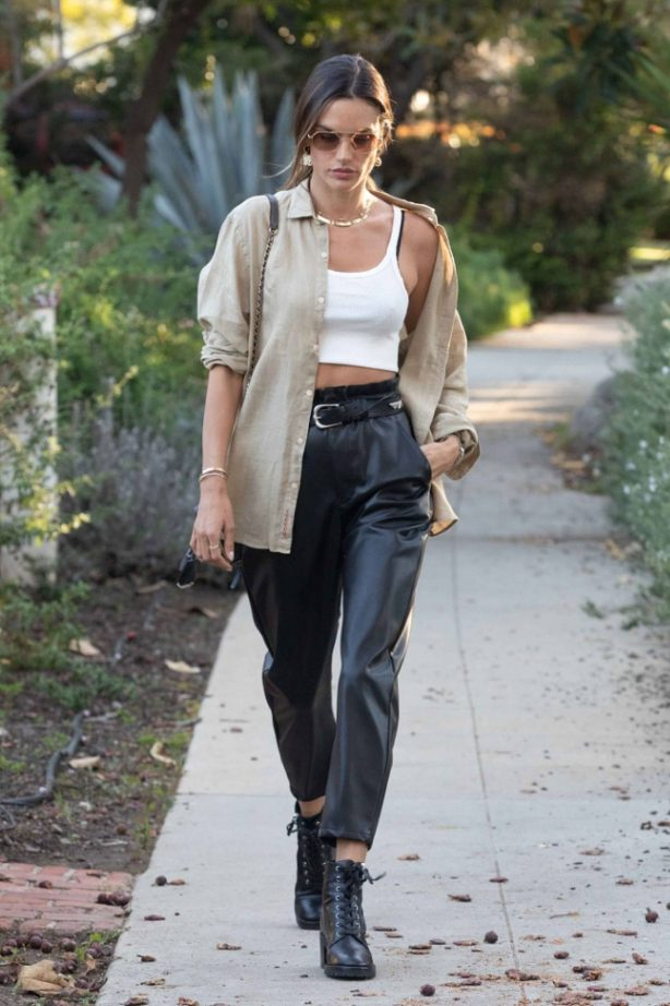 Alessandra Ambrosio - Steps out for a walk around Los Angeles