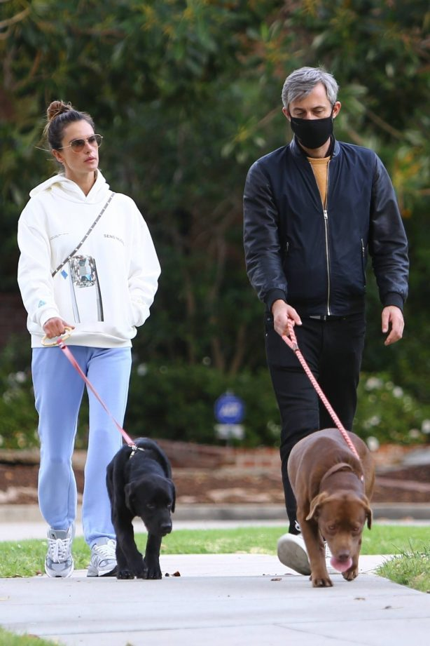 Alessandra Ambrosio - Walk with a friend and their dogs in Santa Monica
