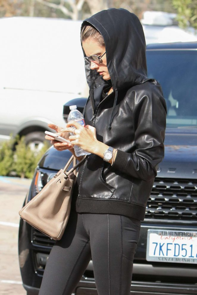 Alessandra Ambrosio - Wearing a leather hoodie in Los Angeles