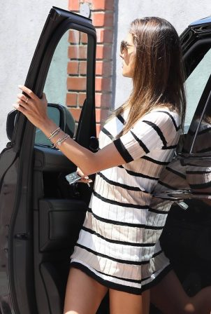 Alessandra Ambrosio - Wearing a striped mini dress while out in Malibu