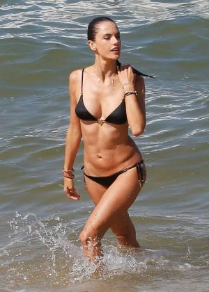 Alessandra Ambrosio in Black Bikini -04