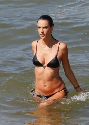 Alessandra Ambrosio in Black Bikini -05